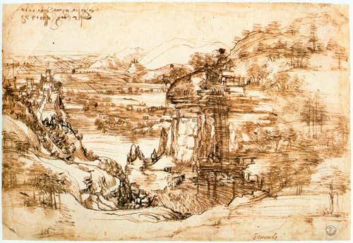 Леонардо да Винчи. Пейзаж с речной долиной и скалами