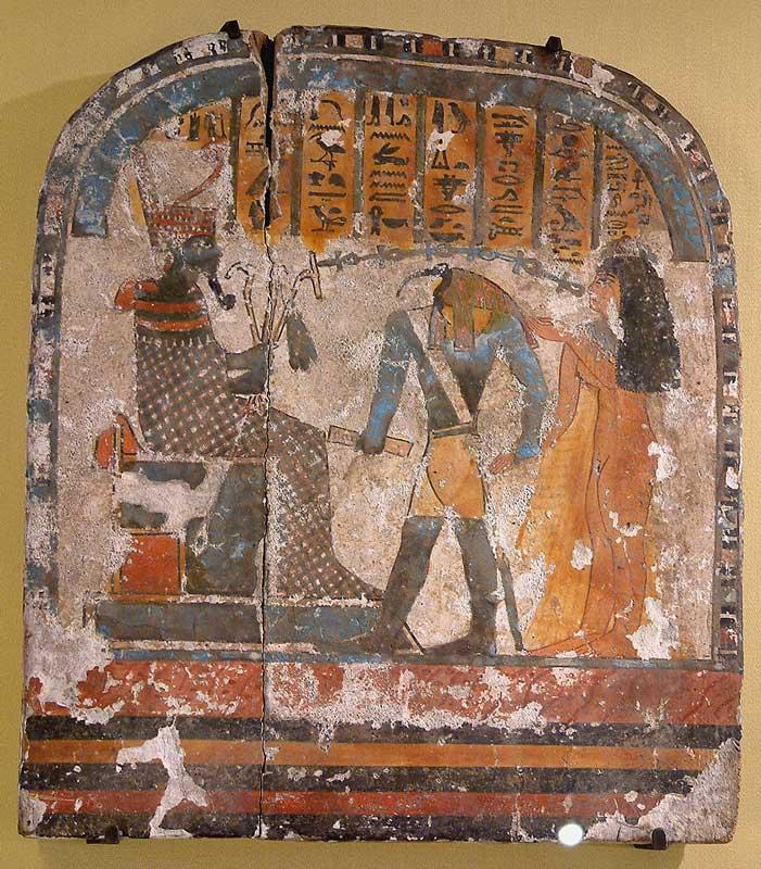 Древнеегипетская настенная роспись с Осирисом