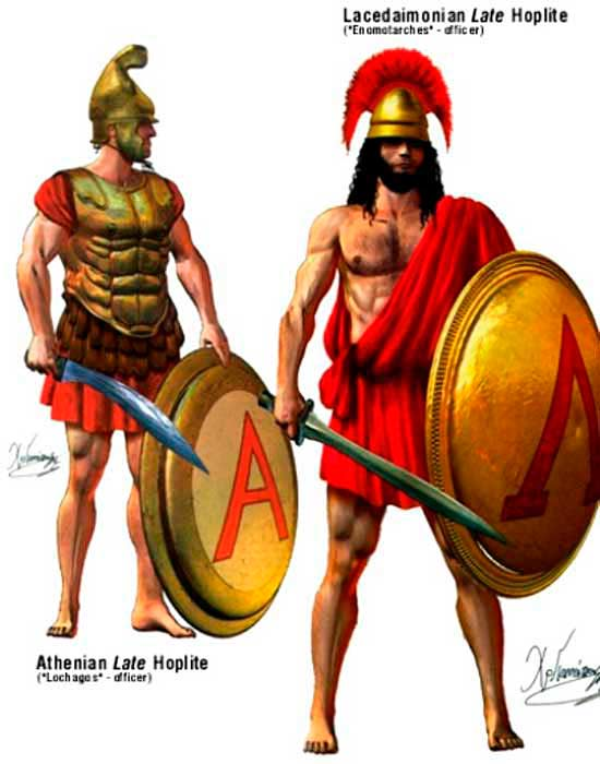 Афинский и спартанский гоплиты