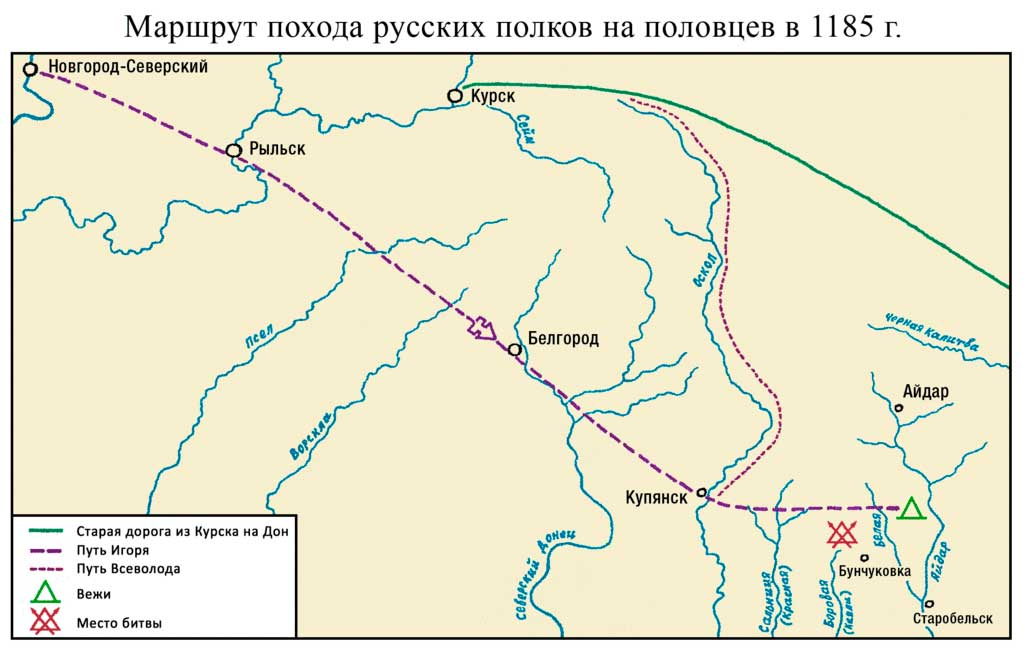 Карта похода князя Игоря на