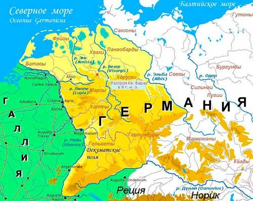 Битва в Тевтобургском лесу. Карта