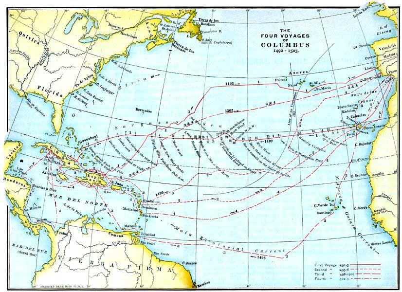Карта четырёх экспедиций