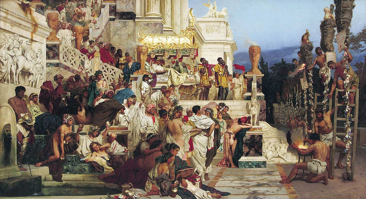 a description of nero who set fire to the city of rome in the ad 64 In the summer of 64, rome suffered a terrible fire that burned for six days and seven nights consuming almost three quarters of the city the people accused the emperor nero for the devastation claiming he set the fire for his own amusement in order to deflect these accusations and placate the people.
