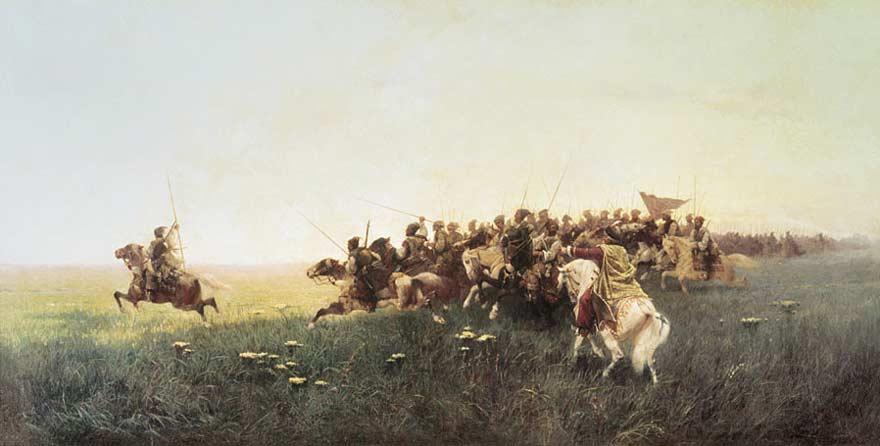 Атака запорожцев в степи